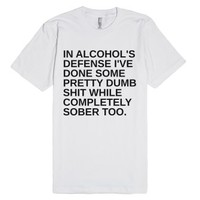 Alcohol's Defense-Unisex White T-Shirt