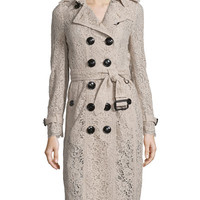 Burberry London Crocheted Lace Slim-Fit Trenchcoat, Antique Pink