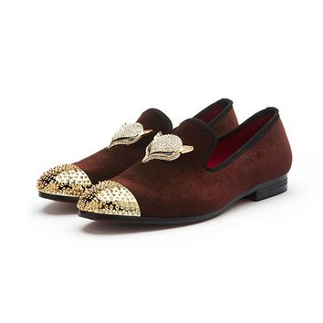 Velvet With Skull Buckle And Gold Toe British Style Men Loafers