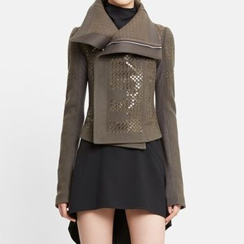 Women's Rick Owens Classic Sequin Wool Blend Biker Jacket,