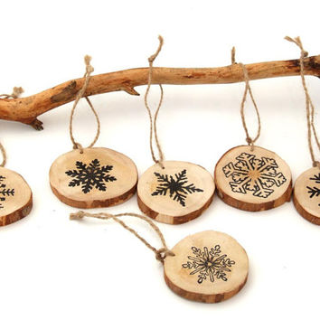 Wood Christmas Ornaments Snowflakes Rustic Tree Branch Christmas Ornaments - set of 6