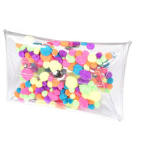 UNIQUE Clutch pompons mascot fluffy bag handbag neon purse kawaii envelope bag hanbags party evening bag vinyl fuzzy pvc weird bag OOAK bag