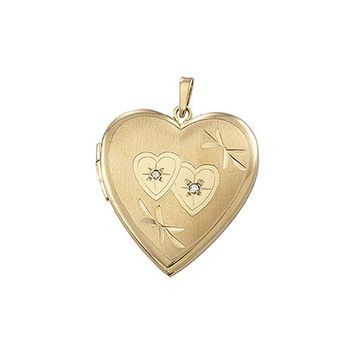 21mm Double Design Diamond Heart Shaped Locket in 14k Yellow Gold