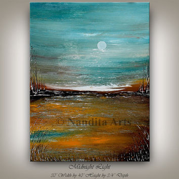 LARGE ABSTRACT PAINTING Modern Original Painting Landscape Paintings Sunset Wall Art Turquoise Artwork Contemporary Art Gallery - Nandita