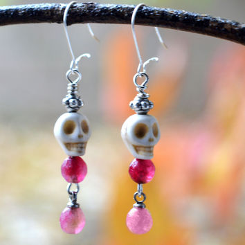 Tiny Pink and White Skull Earrings