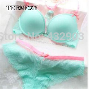 New arrival front closure Y-line-straps cute girl lingerie sets thin cup push up underwear sets beauty sexy women Bra sets