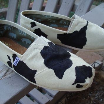 cow print painted on TOMS shoes-made to order