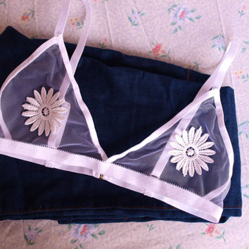 white daisy applique mesh bralette