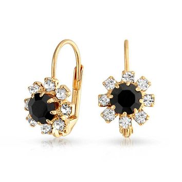 Black and Crystal Flower 18k Gold Plated Leverback Drop Earrings