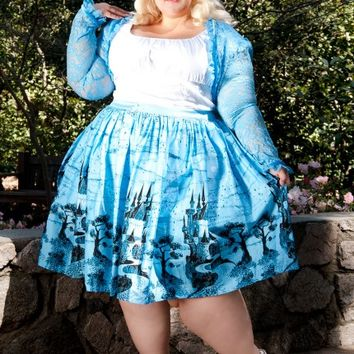 Jenny Skirt in Blue Castle Print - Plus Size