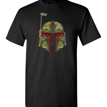 Star Wars Boba Fett Sugar Skull Day of the Dead T-Shirt Men Kids Tee New XS - 5XL