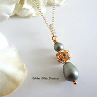 Swarovski Powder Green Pearl Necklace Fall Spring Green Wedding Bridal Formal Jewelry Green Bridesmaid Necklace Mother of Bride Groom Gift