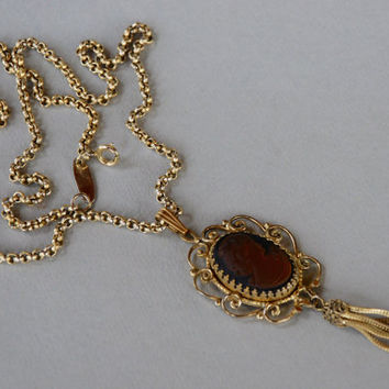 Vintage WHITING and DAVIS Necklace Amber Intaglio Cameo Pendant Filigree Frame Fringe Tassel 1970's // Vintage Designer Costume Jewelry