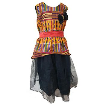 Novarena Kente Ankara African Print Girls Dresses - Flowers, Bow Tie, Formal, Bridal, Easter