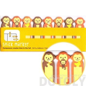 Adorable Monkey Shaped Memo Pad Post-it Index Tabs | Animal Themed Stationery