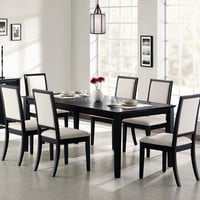 "A.M.B. Furniture & Design :: Dining room furniture :: Small Dinette Sets :: Black finish sets :: 7 PC Lexton Distressed Black Wood Finish Rectangular Dining Table Set with 18"" Leaf"