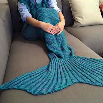 Fashionable Comfortable Drawstring Style Knitted Mermaid Design Throw Blanket