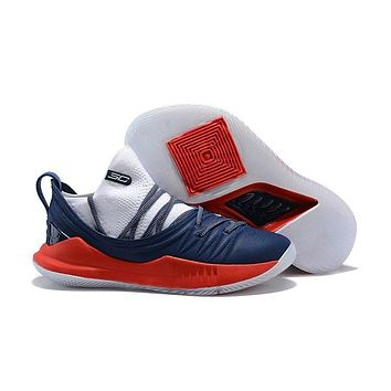 Under Armour Stephen Curry 5 SC Red Black White Basketball Shoes Sneakers-1