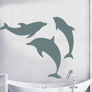 Set of 3 Dolphin Wall Decal Sea Animal Vinyl Stikers Mural Home Living Room Decals For Bathroom Spa Decor Beauty Salon Interior Design KY77
