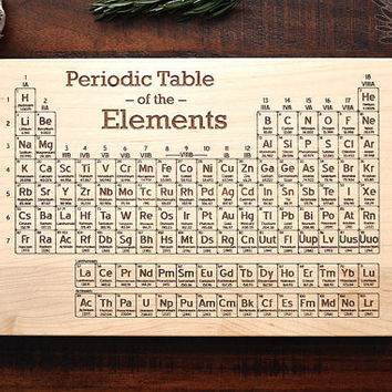 Periodic Table Cutting Board, Science Art, Geeky Christmas Gift for Chemistry Teacher or Student, Engraved Wood Kitchen Decor, Geekery