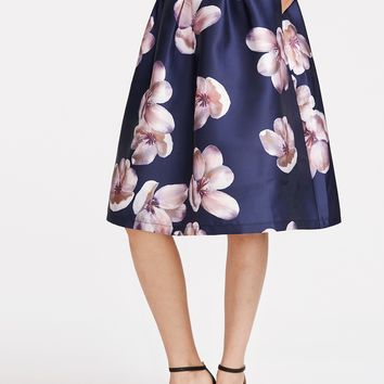 Flower Print Box Pleated Skirt