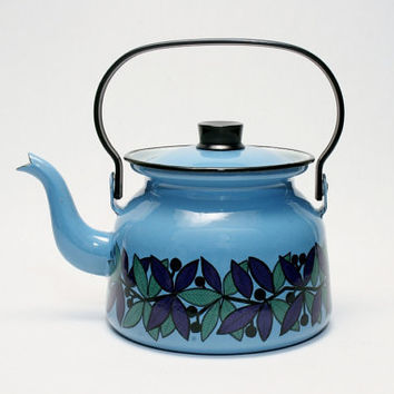 Kaj Franck for FINEL Blue Leaf Kettle in Museum-grade condition Vintage New Stock in Box Finland Enamelware for the Kitchen Eames Era Modern