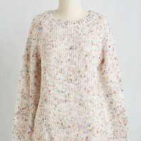 Folk Art Mid-length Long Sleeve The Sun Will Come Out To-marled Sweater by ModCloth