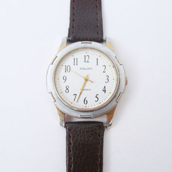 Vintage Soviet Men's wristwatch FLIGHT, Watch brand Poljot 17 jewels, mechanical watch, steel wrist watch unisex, women watches large dial