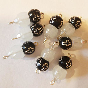 glow in the dark cross bead drops charms pendants black and white 20mm 8 piece jewelry findings supplies