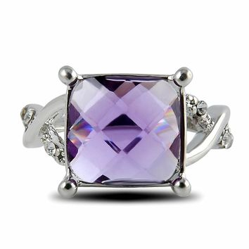 LNRRABC 1pc Hot New Silver Ring Especial Tourmaline Size 6 7 8 Square Plated Crystal White ring