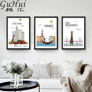 New York, Venice and San Francisco: Modern City Wall Art Series - 3 Pieces