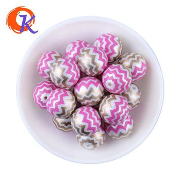 DKF4S New Arrival 20MM 100pcs/lot Hot Pink Shinny Mix Color Acrylic Pearl Print Chevron Beads Chunky Necklace Children Jewelry Making