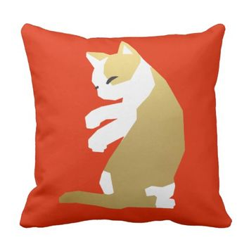 Fortune Cat (Chinese New Year) Throw Pillow