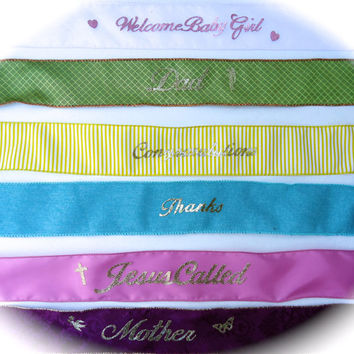 Metallic Gold Script LETTERING and RIBBON or BOW add-on - Personalize for ribbon or bow on Floral Design Purchase