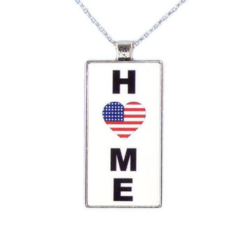 USA Home is Where the Heart is Chain Necklace
