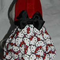 HELLO KITTY Red Velvet Bodice & Print Skirt Harness Dress. Perfect Item for your Cat, Dog or Ferret. All Items Are Custom Made For Your Pet.