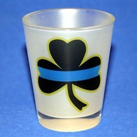 Thin Blue Line Shamrock Frosted Shot Glass