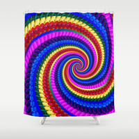 Rainbow Fractal Art Swirl Pattern Shower Curtain by Hippy Gift Shop