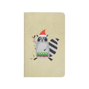 Raccoon In Santa Hat Tangled Up In Xmas Lights Journal