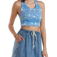 Lt Blue Combo Strappy-Back Paisley Print Crop Top by Charlotte Russe
