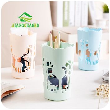 1 Pc Plush Toy Pen Container Brush Pot Circular Hollow Out Deer Tubular Penrack Pencil Vase Tubular Penrack Pen Container