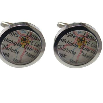 Michigan State University Map Cufflinks