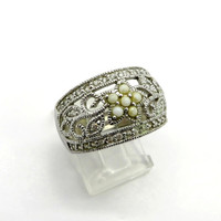 Vintage Sterling Silver Filigree Ring, Faux Pearls & CZs Ring, Size 8