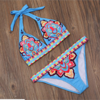 Sexy fashion light blue retro print two piece bikini