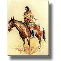 A Breed Indian on Horse Picture on Acrylic , Wall Art Decor, Ready to Hang!