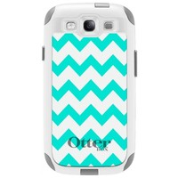 Otterbox Commuter Series Chevron Turquoise and White Pattern Hybrid Case for Samsung Galaxy S3