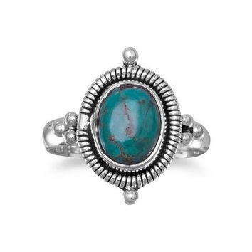 Oxidized Oval Reconstituted Turquoise Ring