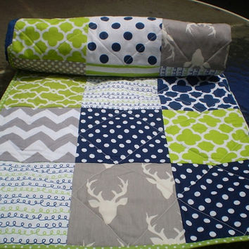 Baby Quilt Navy Grey Lime Green Boy Bedding