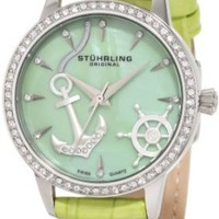 Stuhrling Original Women`s 520.1115L88 Vogue Audrey Verona Del Mar Swiss Quartz Mother-Of-Pearl Swarovski Crystal Green Watch: Watches: Amazon.com
