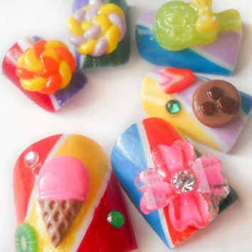 Candy Stripe Fake Nails, Candy Ice Cream, 3D Nails, Press on Nails, Flower, Lollipops, Dessert
